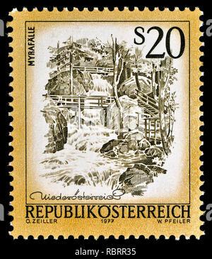 Austrian definitive postage stamp (1977) : Myrafalle, waterfall - Stock Image