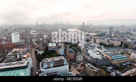 London Cityscape Town Centre Aerial View Skyline feat. Landmarks around Dawn Sunrise Time with Beautiful Sky Above Leicester Square and Covent Garden - Stock Image