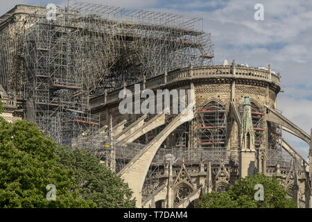 PARIS, FRANCE - 19 APRIL 2019 Notre Dame cathedral, after the timber roof caught fire. The melted scaffolding, constructed for the exact purpose of re - Stock Image