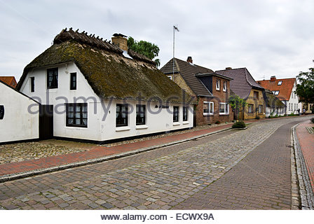 A traditional thatch-roofed house in Maasholm, Schleswig-Holstein, near the mouth of the Schlei and the Baltic Sea. - Stock Image