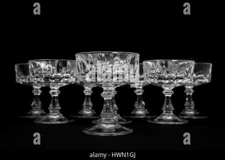 Black and white studio shot of crystal glass - Stock Image