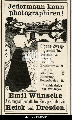 An advertisement of a working female photographer in Dresden, Germany.      Date: 1900 - Stock Image