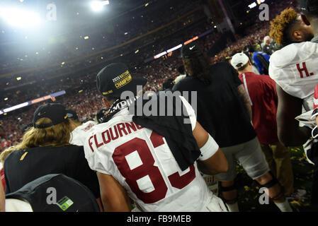 Glendale, AZ, USA. 11th Jan, 2016. Ty Flournoy-Smith of Alabama celebrates during the 2016 College Football Playoff - Stock Image
