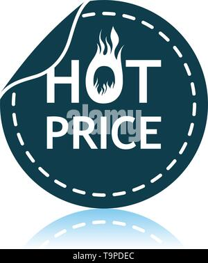 Hot Price Icon. Shadow Reflection Design. Vector Illustration. - Stock Image
