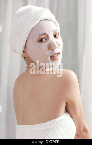 A mask of the young lady - Stock Image