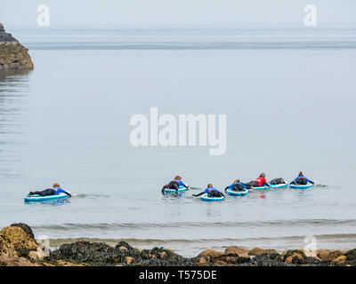 Dunbar, East Lothian, Scotland, UK. 21st Apr 2019. UK Weather:  People enjoy the very sunny hot Easter day weather at Eye Cave cove. A group of paddle boarders go into the sea for a lesson with Coast to Coast surf school - Stock Image