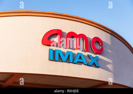 AMC Mercado 20 & IMAX Theatre, sign on front, Mission College Boulevard, Santa Clara, California, USA - Stock Image