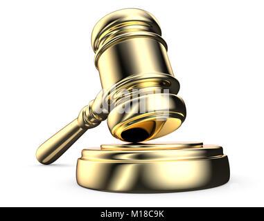 Law of the instrument, Gavel Hammer on sound Block. Golden. 3D render. - Stock Image