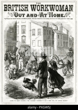 A working man waves to his two children across a busy street.       Date: 1866 - Stock Image