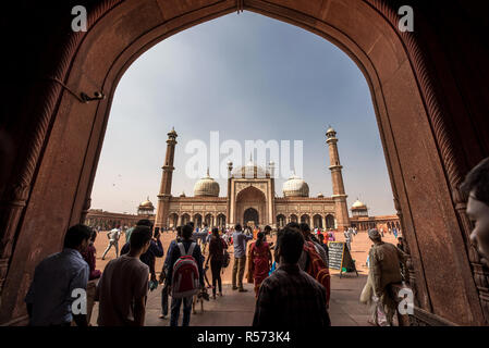 View of Jama Masjid mosque from one of the gate, Old Delhi, India - Stock Image