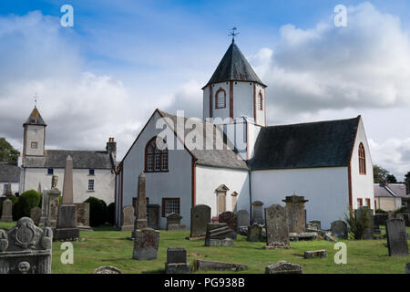 Lauder Old Parish Church in the Scottish Borders is unique. It is the only cruciform church with an octagonal central tower in Scotland. - Stock Image
