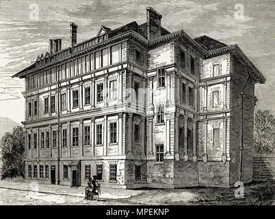 Old Craven House London England UK pictured in 1800. 19th century Victorian engraving circa 1878 - Stock Image