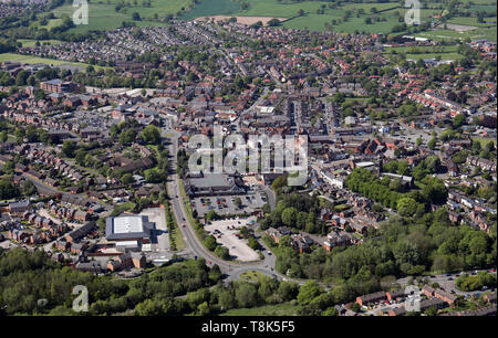 aerial view of Sandbach town centre, East Cheshire - Stock Image