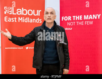 Christopher Williamson Labour party M.P. for Derby North speaking at a Labour Party rally. - Stock Image