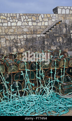 Net for shellfish capture in Laxe village, La Coruña province, Spain - Stock Image