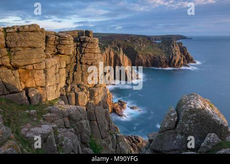 Dramatic granite cliffs at Pordenack Point near Land's End, Cornwall, England. Autumn (November) 2017. - Stock Image