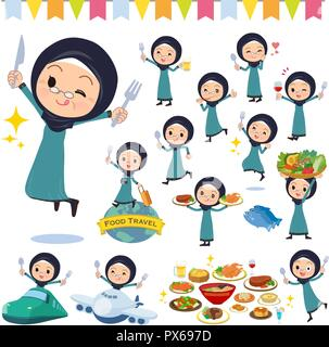 A set of old women wearing hijab on food events.There are actions that have a fork and a spoon and are having fun.It's vector art so it's easy to edit - Stock Image
