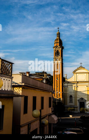 Bell tower with italian flag - Stock Image