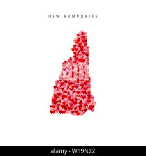I Love New Hampshire. Red and Pink Hearts Pattern Vector Map of New Hampshire Isolated on White Background. - Stock Image