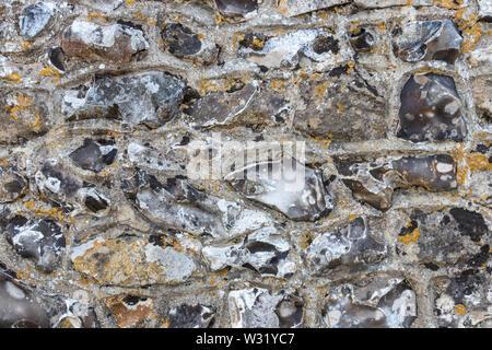 A flint wall close up - Stock Image