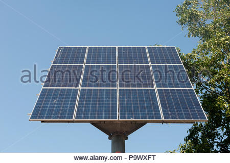 Gouda The Netherlands Solar panels placed along the cycle paths near the centre. - Stock Image