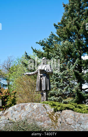 Statue of Sir James Douglas, the first Governor of British Columbia.  In the gardens of Government House in Victoria, BC, Canada. - Stock Image