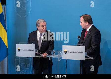 Stockholm, Sweden, 23th April, 2018. UN Secretary-General and Security Council to meet in Sweden. UN Secretary-General António Guterres (left) visiting the National Library of Sweden. Press conference in the auditorium with PM Stefan Löfvén Credit: Barbro Bergfeldt/Alamy Live News - Stock Image