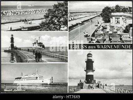 GERMANY - CIRCA 1968: A postcard printed in Germany, shows the landmarks of Warnemuende, Rostock, circa 1968 - Stock Image