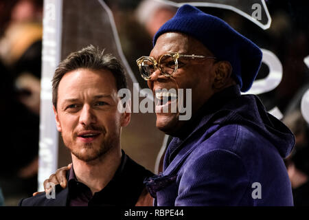 Samuel L. Jackson at the UK Premiere of GLASS on Wednesday 9 January 2019 held at Curzon, Mayfair, London. Pictured: Samuel L. Jackson, James McAvoy. Picture by Julie Edwards/LFI/Avalon.  All usages must be credited Julie Edwards/LFI/Avalon. - Stock Image