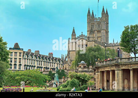 UK Somerset Bath Abbey Viewed From River - Stock Image