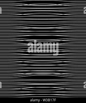 Abstract white twisted narrow lines on black background, monochrome. Print. Horizontal stripes of light - Stock Image