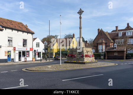 Market place and war memorial in the market town of Holt, Norfolk, UK - Stock Image