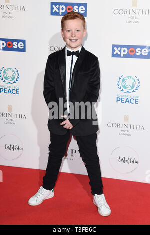 London, UK. 08th Apr, 2019. LONDON, UK. April 08, 2019: Braydon Brent arriving for the Football for Peace initiative dinner by Global Gift Foundation at the Corinthia Hotel, London. Picture: Steve Vas/Featureflash Credit: Paul Smith/Alamy Live News - Stock Image