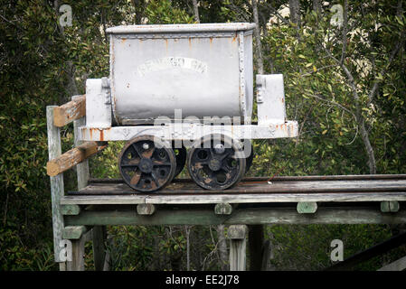 Ore cart at Bendigo gold mine in the Knysna Forest, part of the Garden Route National Park, South Africa. - Stock Image