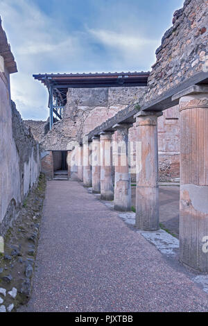 Colonnade Thermal Baths of Stabys Pompeii Campanula Italy - Stock Image