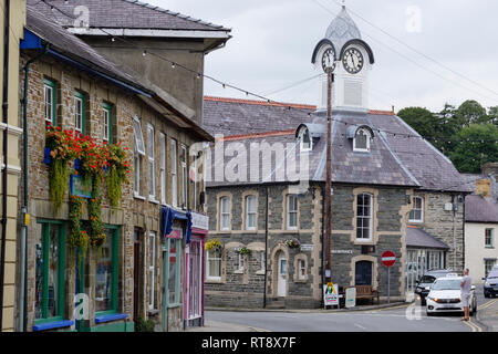 Town Hall Clock Tower Newcastle Emlyn Carmarthenshire, Wales - Stock Image