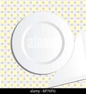 Plate and napkin - Stock Image