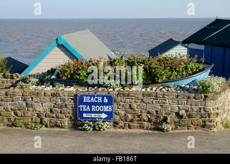 tea room and beach sign Walton on the naze, essex - Stock Image