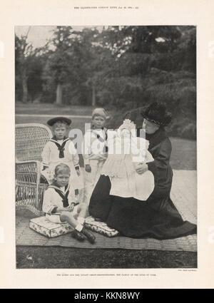 1901 Illustrated London News Queen Victoria & her Grandchildren - Stock Image