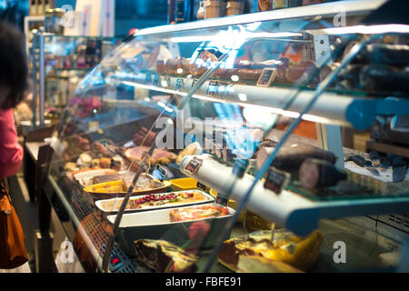 Close-Up Of Sausages On Display At Store - Stock Image