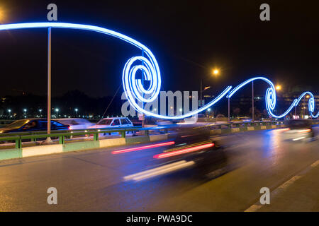 Night long exposure : tail lights on a bridge over Zayandeh river, Isfahan, Iran - Stock Image