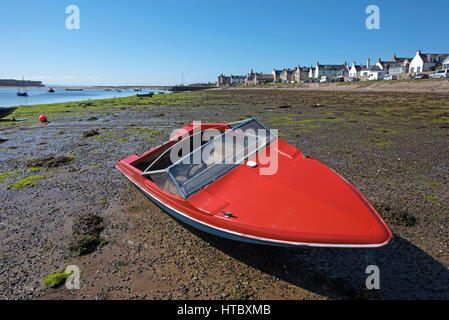 The seafront beach at Findhorn Bay in Morayshire, Scotland - Stock Image