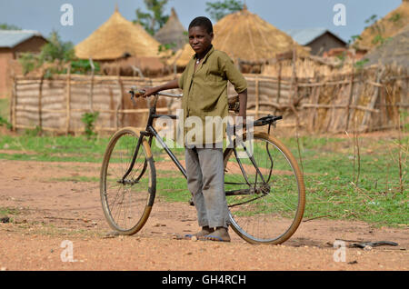 geography / travel, Cameroon, young with bicycle at Ngaoundere, Central Africa, Africa, Additional-Rights-Clearance - Stock Image