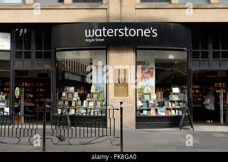 Frontage to Waterstone's book store on Argyle Street, Glasgow, Scotland, UK - Stock Image
