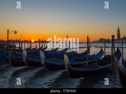Venetian gondolas at sunrise - Stock Image