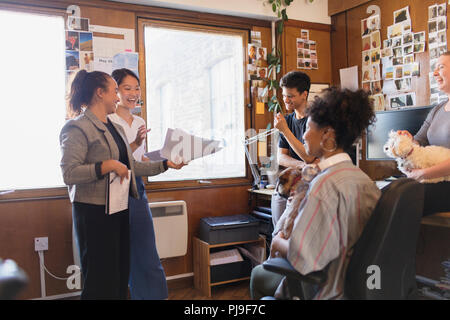 Creative designers with dogs meeting in office - Stock Image