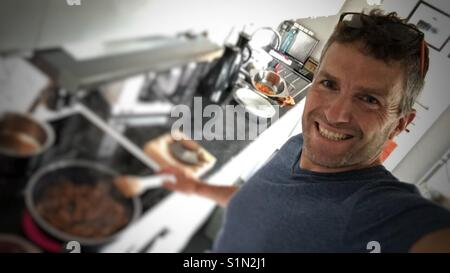 Preping dinner. - Stock Image