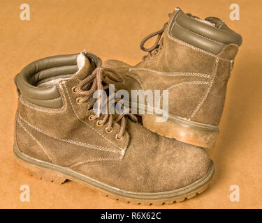 Sturdy insulated winter boots close up - Stock Image