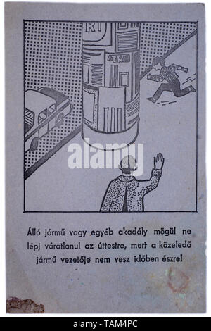 educational road safety card for children 1970s hungary - Stock Image