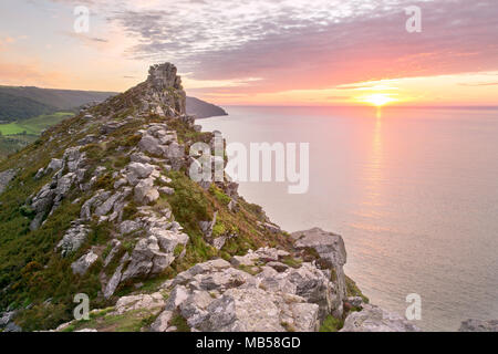 Sunset at the Valley of the Rocks Lynton Devon Exmoor - Stock Image